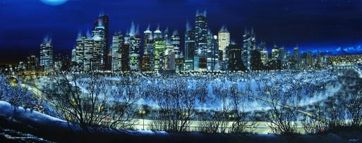 Jason Kamin - Calgary Cityscape Circa 2003 - 24x50 Oil - 2013